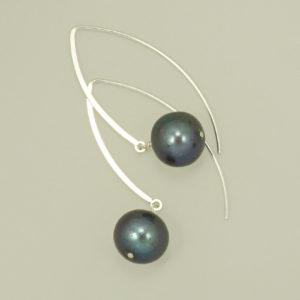 Black Freshwater Pearl long dangle hook earrings