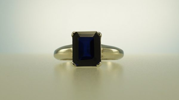 Sapphire blue synthetic ring sterling silver
