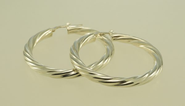 Hoop earrings sterling silver twisted