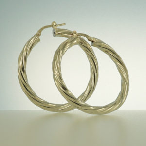 Hoop earrings sterling silver twisted