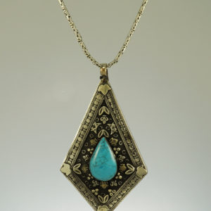 Indian silver Turquoise diamond shape pendant
