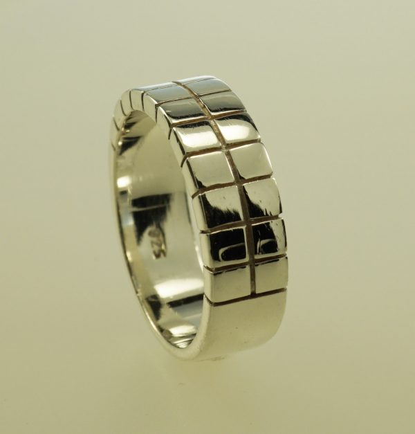 Ring with squares in sterling silver