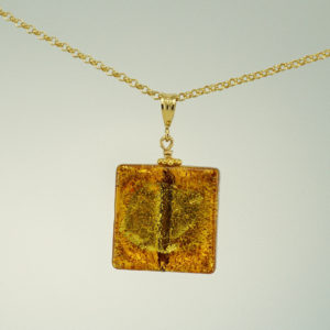 Gold Venetian glass square pendant
