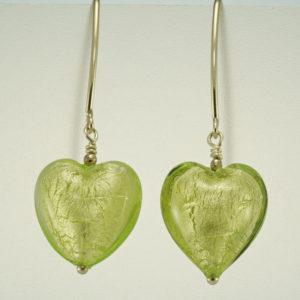 Green Heart Shaped dangle hook earrings