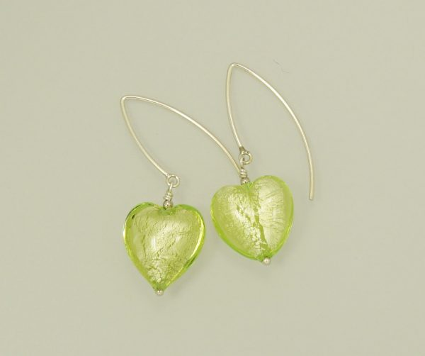 Green Heart Shaped dangle hook earrings