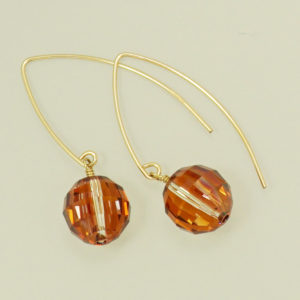 Orange Swarovski crystal dangle hook earring