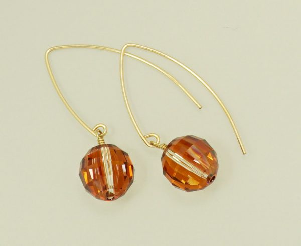 Orange Swarovski crystal dangle hook earring