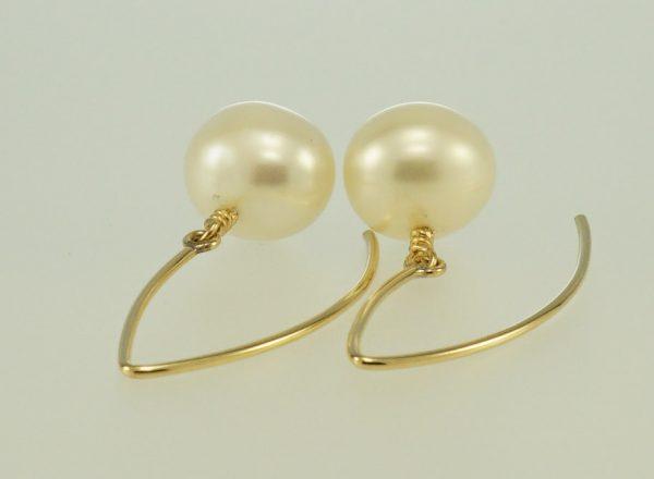 White Freshwater Pearl dangle hook earrings