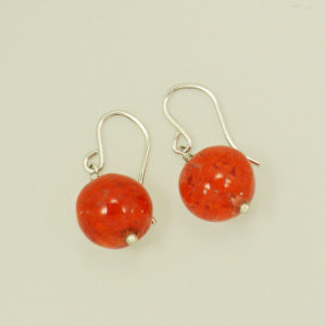Red cloud Venetian glass dangle hook earrings