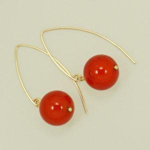 Red Venetian Glass dangle hook earrings