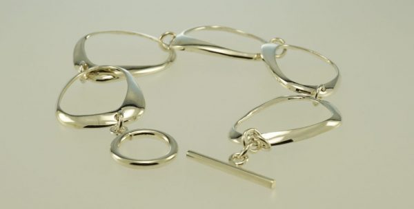 Sterling Silver abstract design bracelet, with T Bar Toggle Clasp