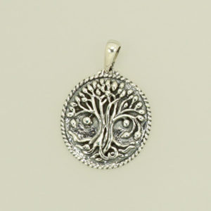 Sterling Silver Tree of Life Pendant, round embossed and oxidized
