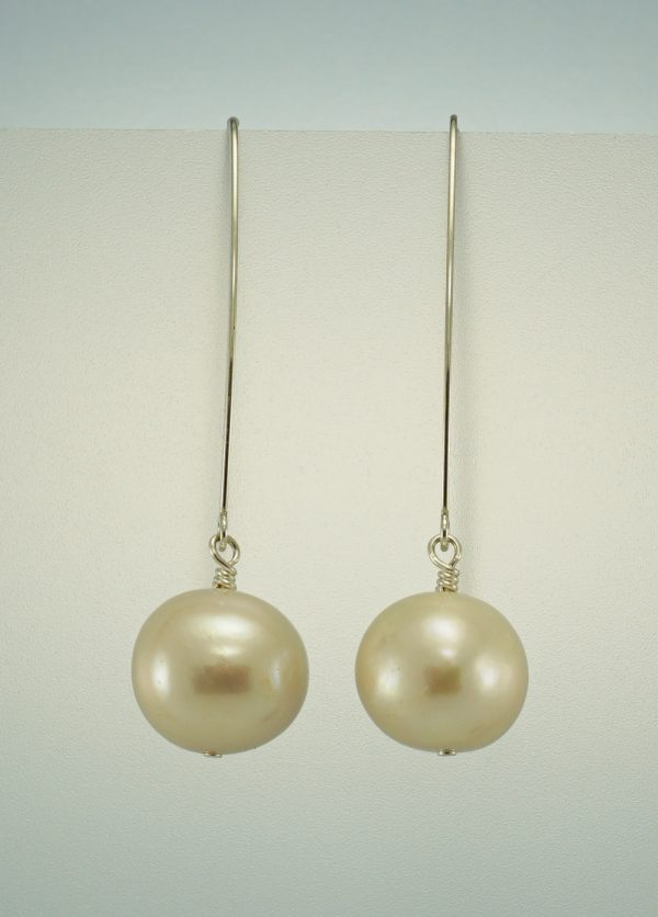 White Freshwater Pearl dangle hook earrings