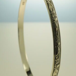 Floral Embossed Sterling Silver Bangle Oxidized Art Nouveau